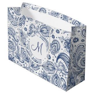 Blaues Vintages Blumenmuster-Monogramm L Große Geschenktüte