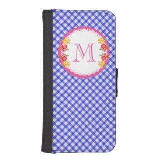 Blaues Vintages Gingham-Blumenmonogramm Geldbeutel Hülle Für Das iPhone SE/5/5s