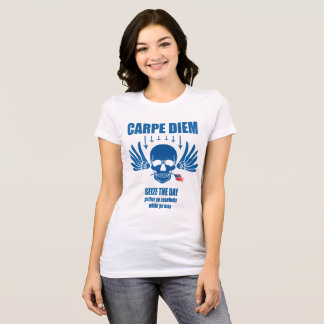 Blaues Vintages Retro Carpe Diem. Ergreifen Sie T-Shirt