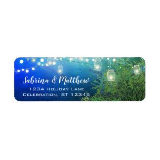 Blaues Waldmaurer-Glas beleuchtet Rücksendeadresse