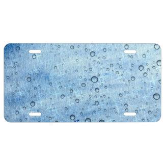 Blaues Wasser-Tropfen US Nummernschild
