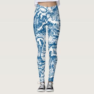 Blaues Wasser-Wellen-Muster Leggings