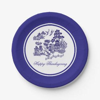 Blaues Weide-Muster Ihr Gruß oder Feiertag Pappteller