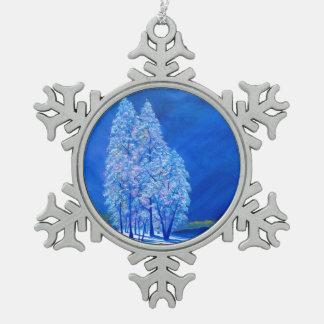 Blaues Weihnachten # 3 Schneeflocken Zinn-Ornament