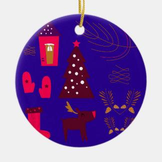 Blaues Weihnachten der Entwurfselemente Keramik Ornament