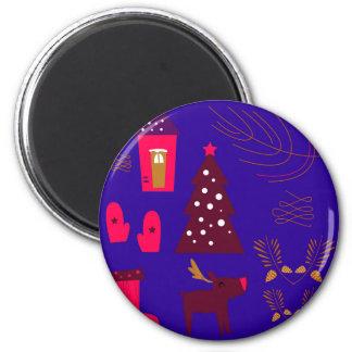 Blaues Weihnachten der Entwurfselemente Runder Magnet 5,1 Cm