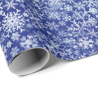 Blaues Weihnachten fünf - Schneesturm Geschenkpapier
