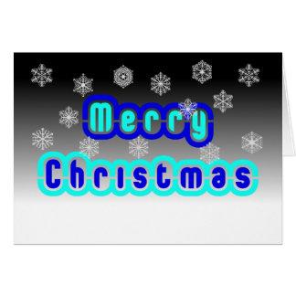 Blaues Weihnachten mit Schneeflocken Karte