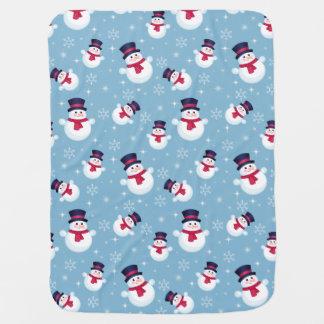 Blaues Weihnachtsmuster mit Schneemännern und Kinderwagendecke