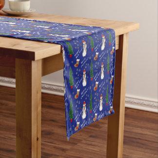 Blaues WeihnachtsSchneemann-Muster Mittelgroßer Tischläufer