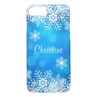 Blaues Weihnachtsweißer Schneeflocken iPhone 7 iPhone 7 Hülle