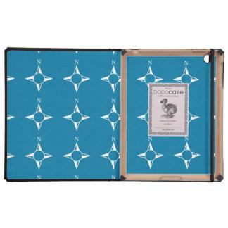 Blaues Weiß des rechtweisend Nord iPad Schutzhüllen