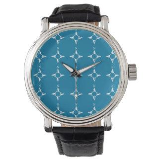 Blaues Weiß des rechtweisend Nord Uhr