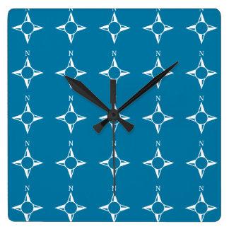 Blaues Weiß des rechtweisend Nord Uhren