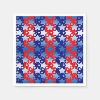 Blaues Weiß spielt rote blaue Streifen die Serviette