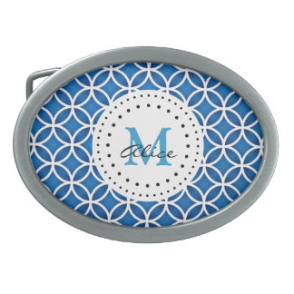 Blaues weißes abstraktes Kreis-Muster Ovale Gürtelschnallen