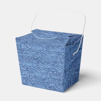 Blaues weißes Denim-Beschaffenheits-Blick-Bild Geschenkschachtel