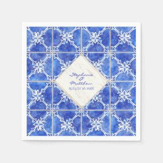 Blaues weißes Fliesen-Muster-Hochzeits-Aquarell Papierserviette