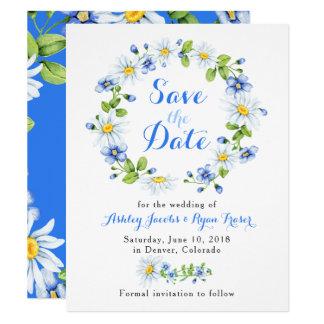 Blaues weißes Gänseblümchen Blumenwedding Save the Karte