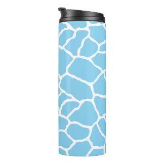 Blaues weißes Giraffen-Haut-Muster Thermosbecher