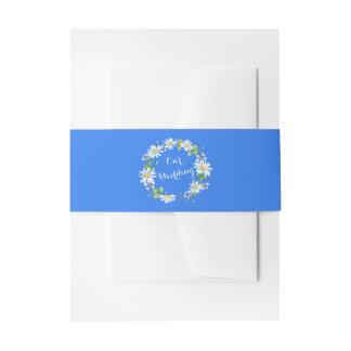Blaues weißes Land-Gänseblümchen-Blumenhochzeit Einladungsbanderole