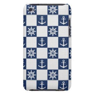 Blaues weißes nautischkariertes iPod touch etuis