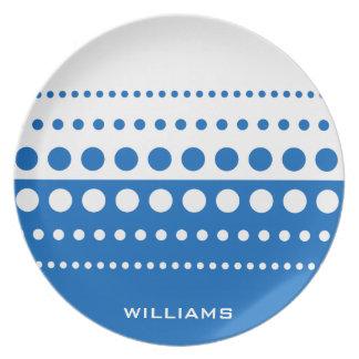 Blaues weißes Tupfen-Muster Flache Teller