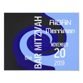 Blaues Welle Bar Mitzvah 10,8 X 14 Cm Einladungskarte