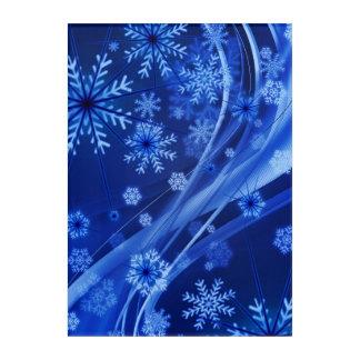 Blaues Winter-Schneeflocke-Weihnachten Acryl Wandkunst