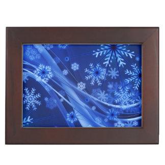 Blaues Winter-Schneeflocke-Weihnachten Erinnerungsdose