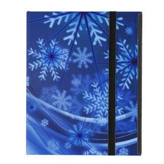 Blaues Winter-Schneeflocke-Weihnachten Etui Fürs iPad