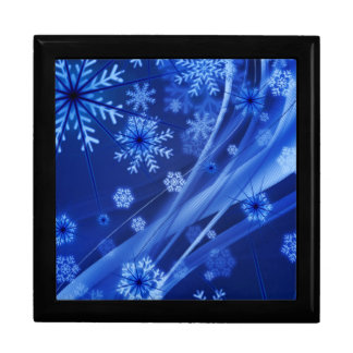 Blaues Winter-Schneeflocke-Weihnachten Geschenkbox