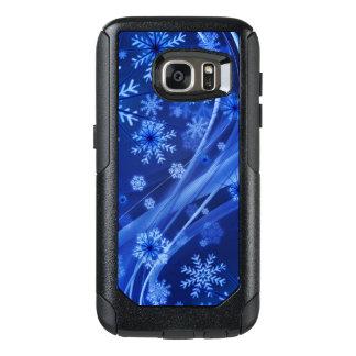 Blaues Winter-Schneeflocke-Weihnachten OtterBox Samsung Galaxy S7 Hülle