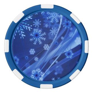 Blaues Winter-Schneeflocke-Weihnachten Poker Chips Set