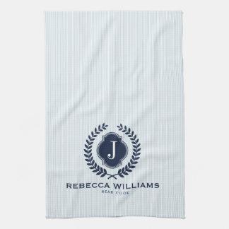 Blaues Wreath-Abzeichen-Gewohnheitsmonogramm Handtuch