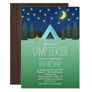 Blaues Zelt unter dem Stern-Geburtstags-Camping 12,7 X 17,8 Cm Einladungskarte
