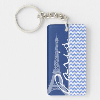 Blaues Zickzack; Paris Schlüsselanhängern