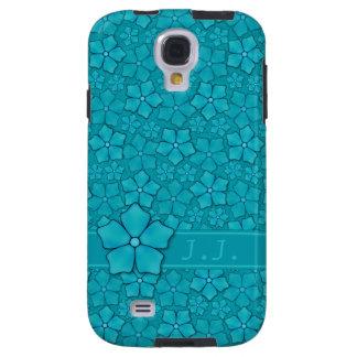 Blaugrüne Blumenmuster Monogramm-Initialen Galaxy S4 Hülle