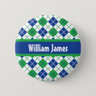 Blaugrüne Raute Runder Button 5,1 Cm
