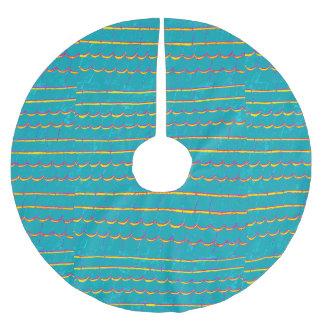 blaugrünes gelb-umrandetes Muster Polyester Weihnachtsbaumdecke