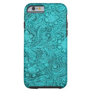 Blaugrünes Veloursleder-Leder-Blumenmuster Tough iPhone 6 Hülle