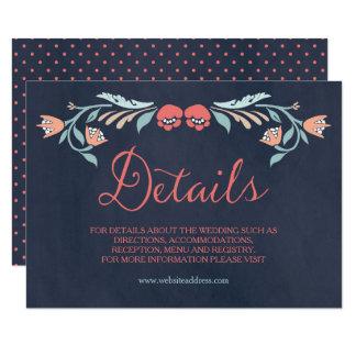 Bläuliche Tafel-elegante Blumenhochzeits-Details Karte