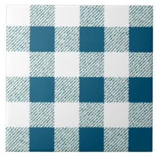 Bläuliches Gingham-Karo-Muster Keramikfliese