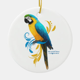 Blauund Goldmacaw-Verzierung Keramik Ornament
