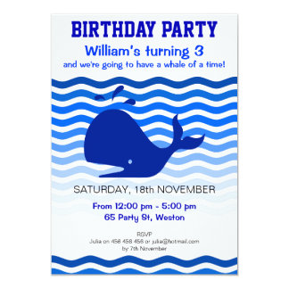 Blauwal des Spaßes im Blau bewegt Party 12,7 X 17,8 Cm Einladungskarte