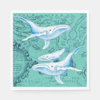 Blauwal-Familie aquamarin Papierserviette