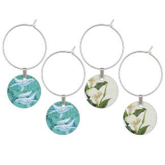 Blauwal-Familie aquamarin Weinglas Anhänger
