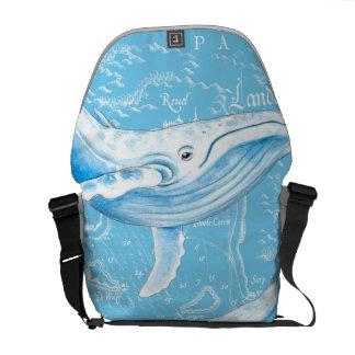 Blauwal-Familie Kuriertasche