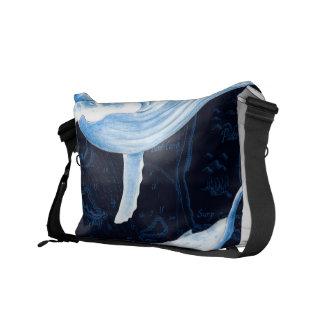 Blauwal-Familien-Indigo Kuriertasche