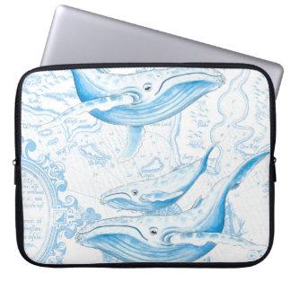 Blauwal-Familien-Weiß Laptopschutzhülle